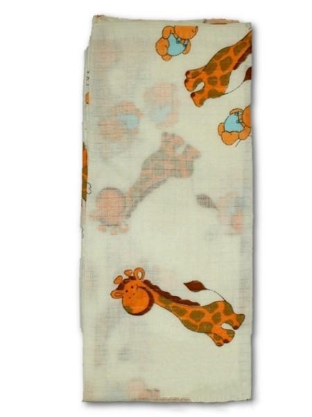 Bavlněná plena s potiskem New Baby bílá s žirafkou