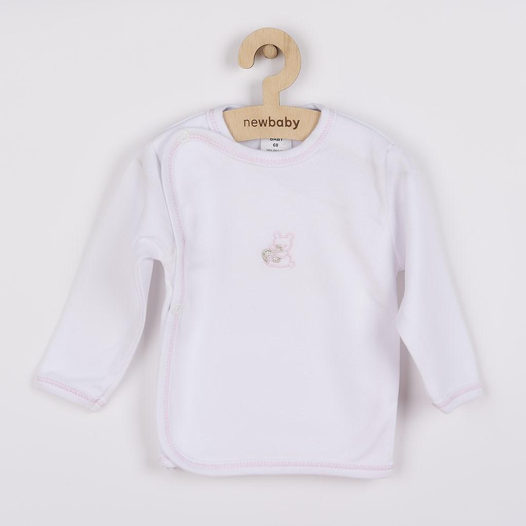 Kojenecká košilka s vyšívaným obrázkem New Baby růžová