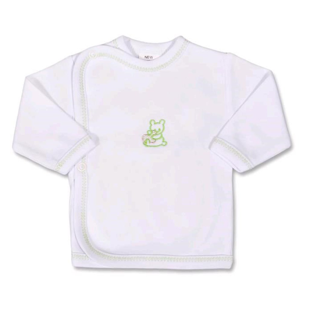 Kojenecká košilka s vyšívaným obrázkem New Baby zelená vel. 50