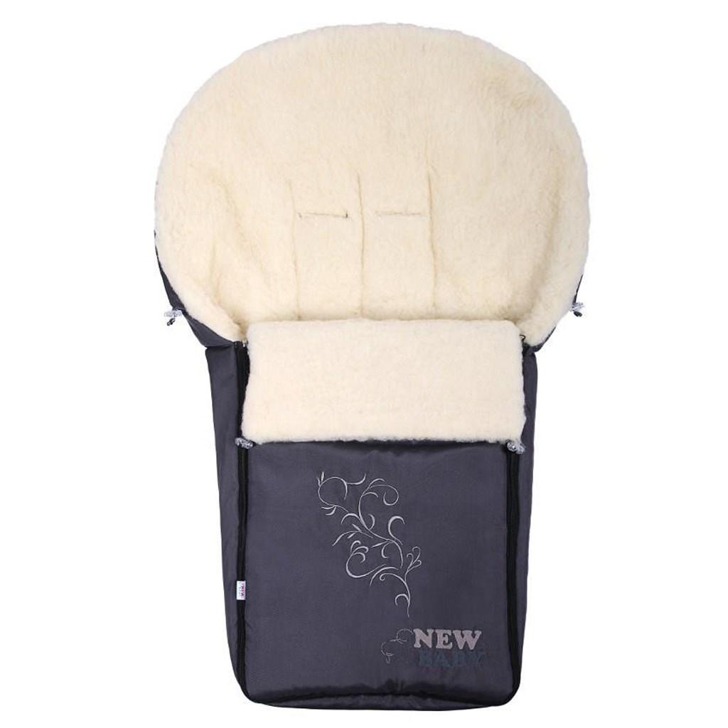 Luxusní fusák s ovčím rounem New Baby šedý