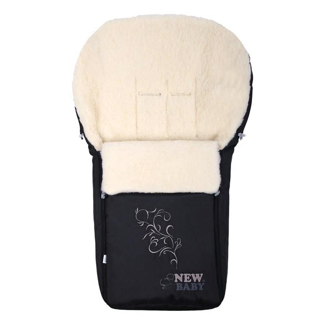 Luxusní fusák s ovčím rounem New Baby černý
