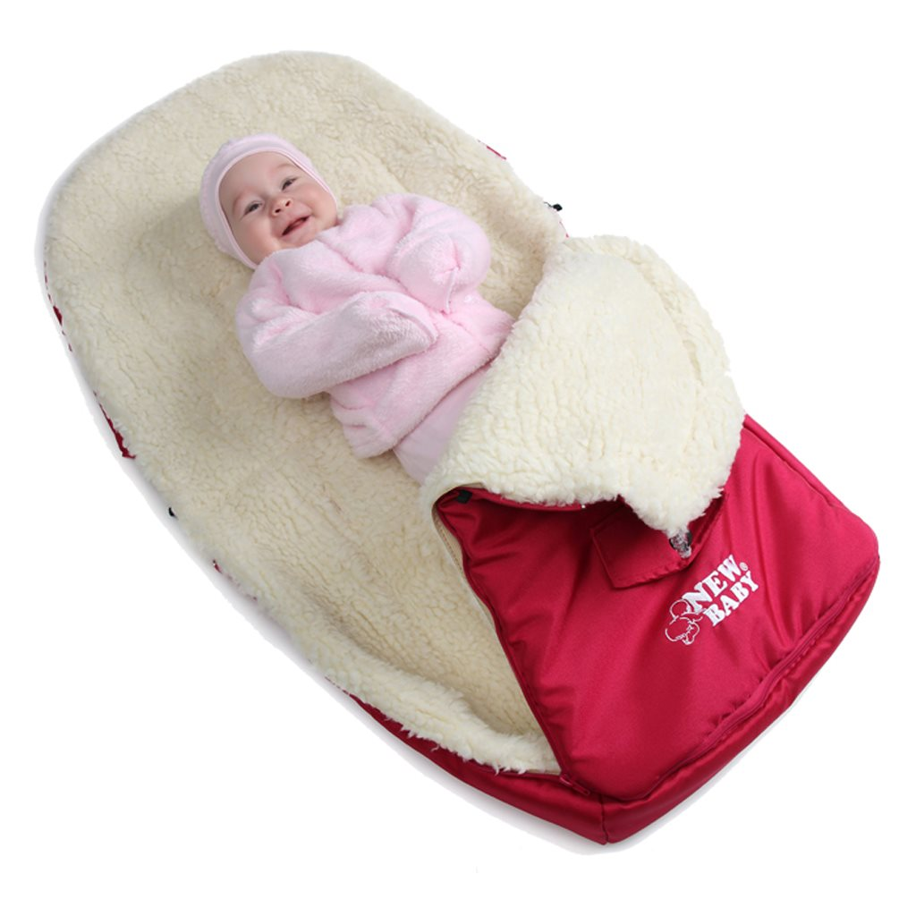 Luxusní fusák s ovčím rounem New Baby červený