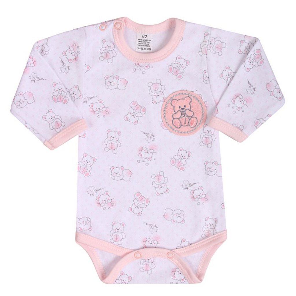 Kojenecké body s dlouhým rukávem New Baby Roztomilý Medvídek růžové