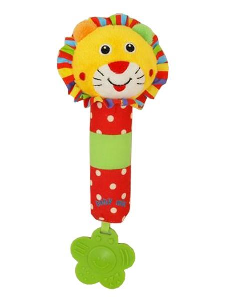 Dětská pískací plyšová hračka s chrastítkem Baby Mix lev