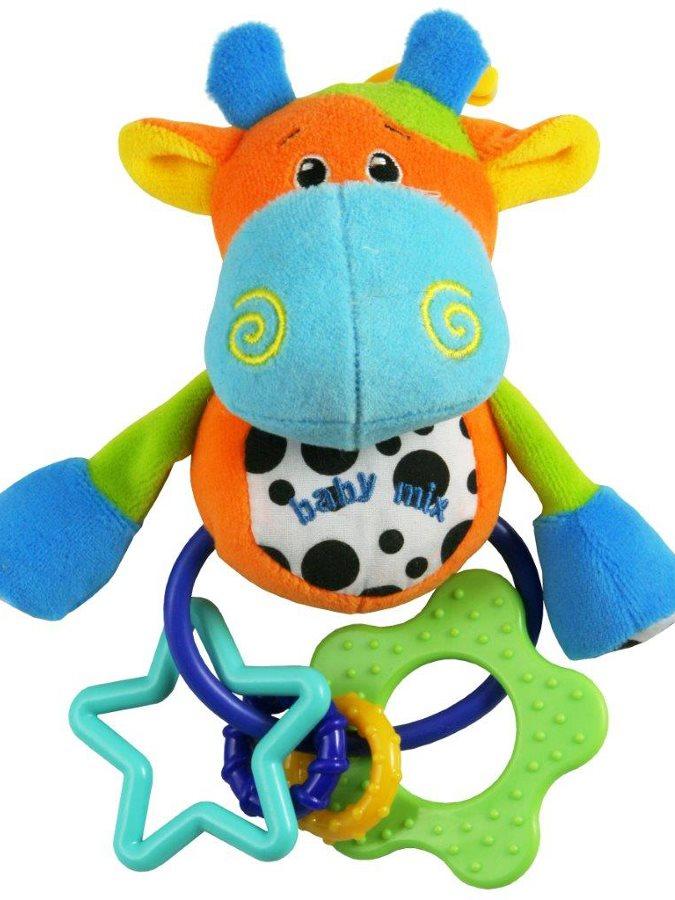 Plyšová hračka s chrastítkem Baby Mix kravička