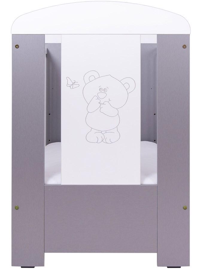 Dětská postýlka Drewex Malý medvídek a motýlek šedá