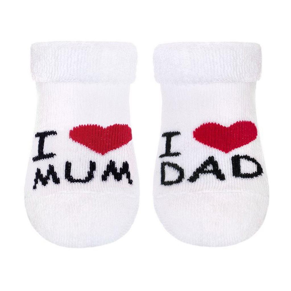 Kojenecké froté ponožky New Baby bílé I Love Mum and Dad vel. 62 (3-6m)