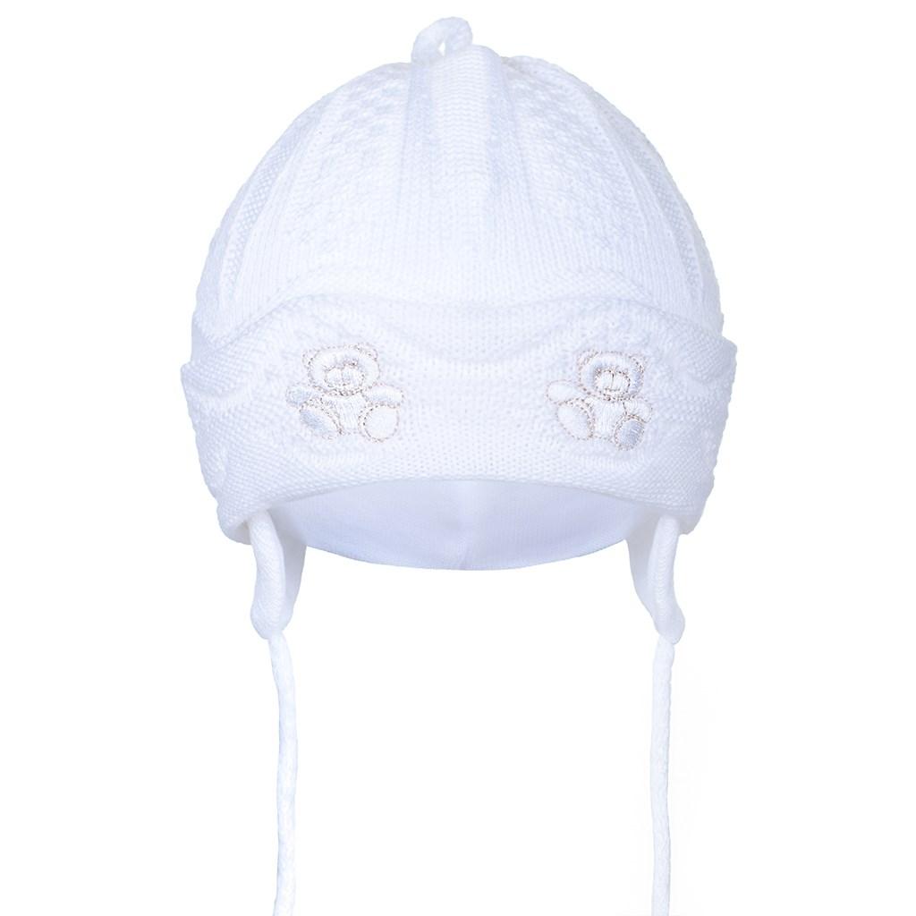 Pletená dětská čepička New Baby medvídci bílá