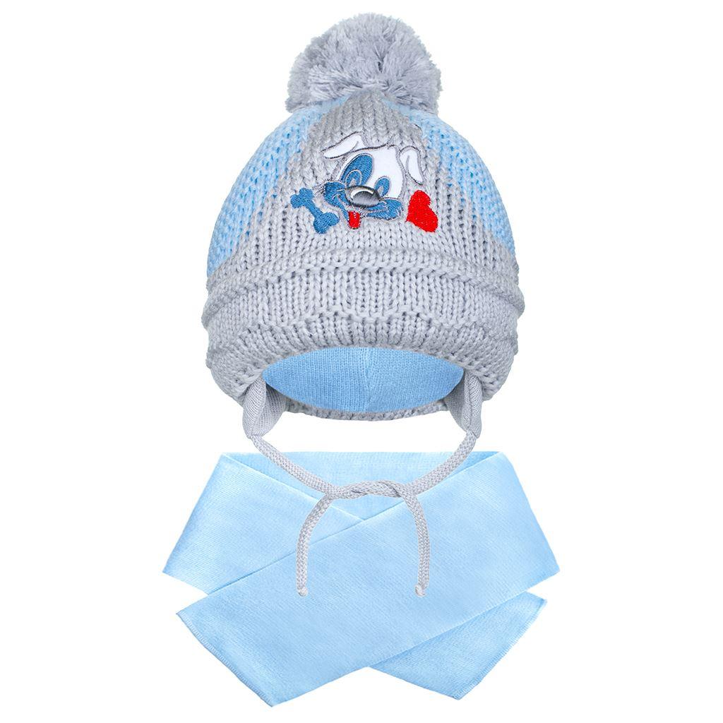 Zimní dětská čepička se šálou New Baby pejsek světle modrá
