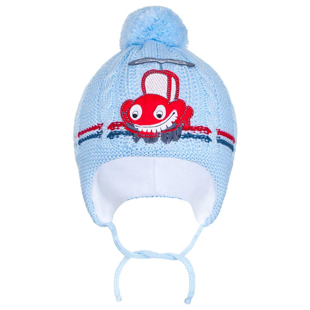 Zimní dětská čepička New Baby autíčko světle modrá vel. 86 (12-18m)