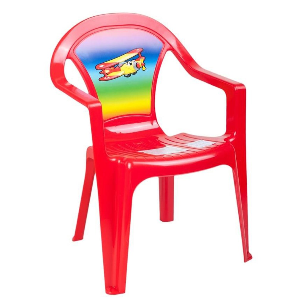 Dětský zahradní nábytek - Plastová židle červená letadlo