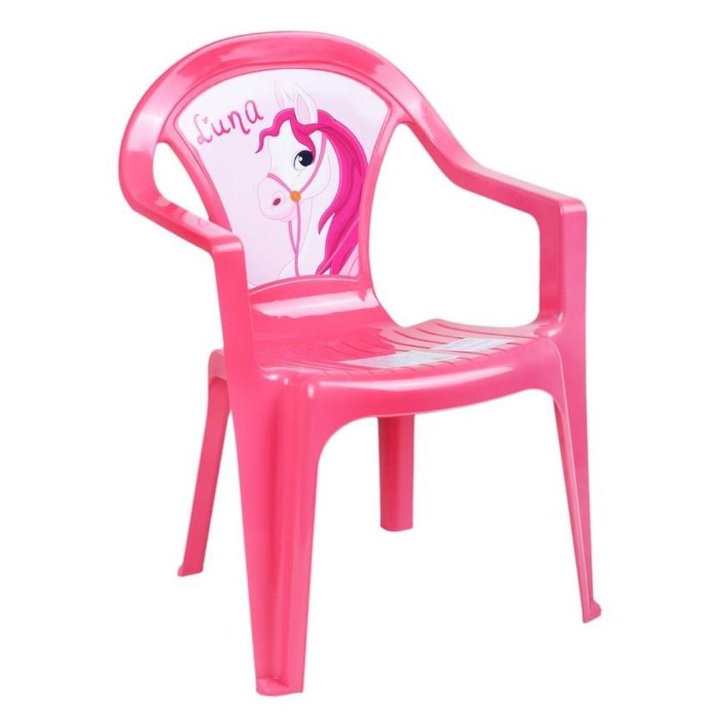 Dětský zahradní nábytek - Plastová židle růžová
