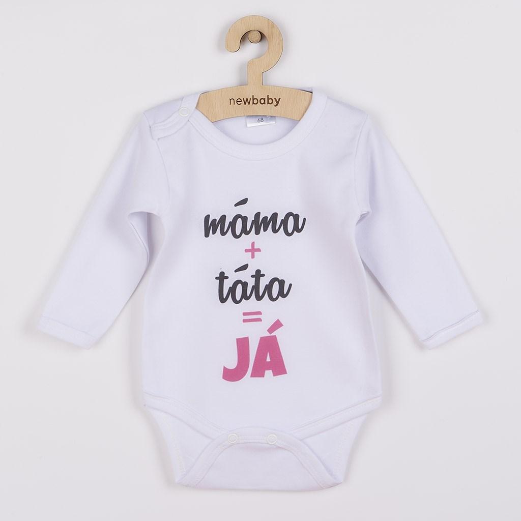 Body s potiskem New Baby máma plus táta rovná se JÁ, vel. 68 (4-6m)