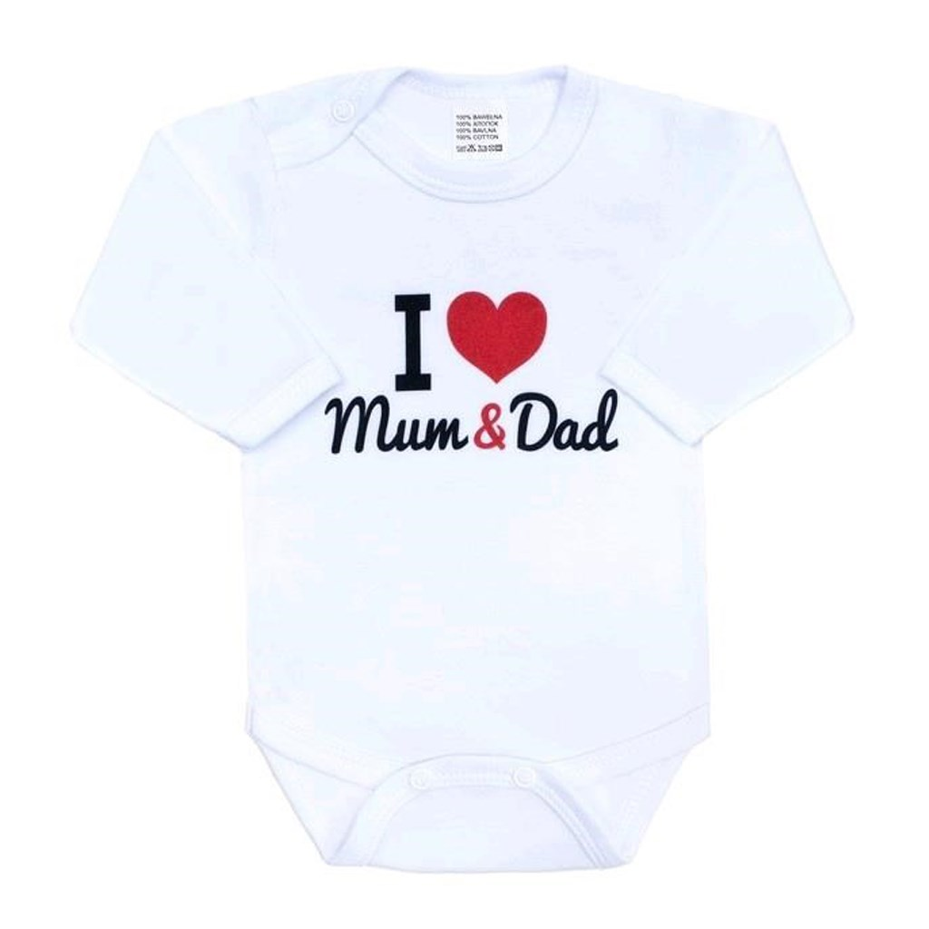 Body s potiskem New Baby I Love Mum and Dad, vel. 56 (0-3m)