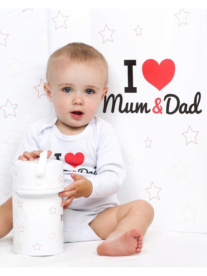 Body s potiskem New Baby I Love Mum and Dad, vel. 68 (4-6m)