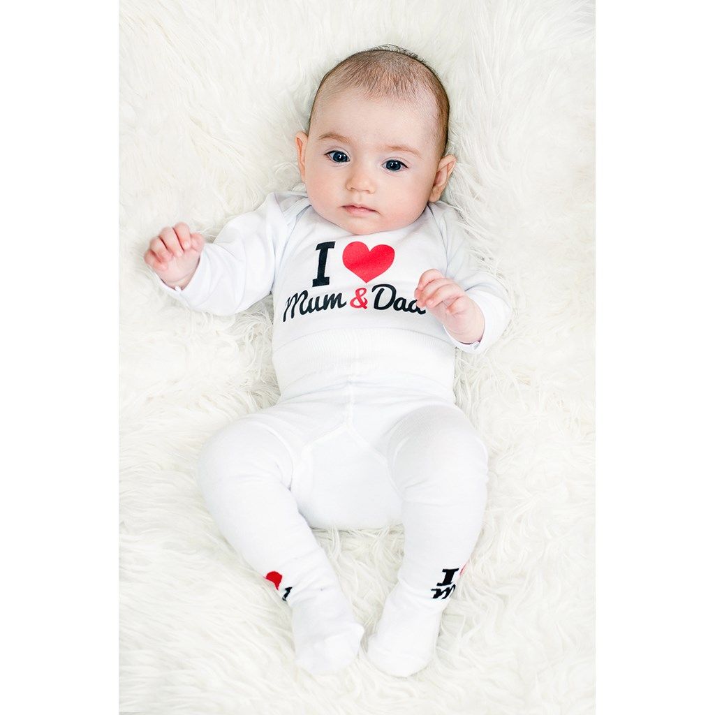 Body s potiskem New Baby I Love Mum and Dad, vel. 80 (9-12m)