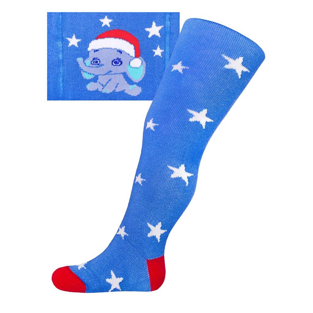 Vánoční bavlněné punčocháčky New Baby modré se slonem