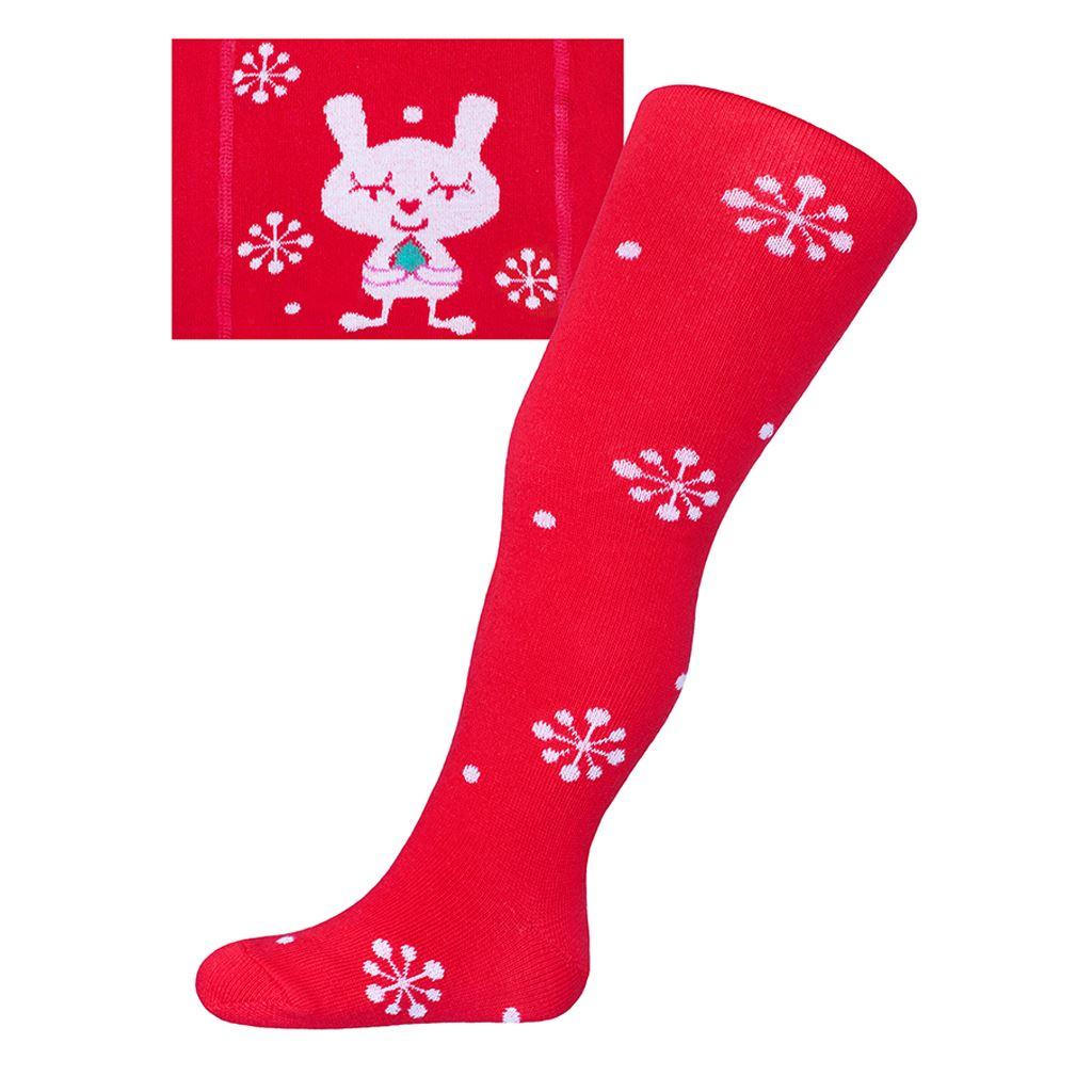 Vánoční bavlněné punčocháčky New Baby červené s vločkami a kočičkou