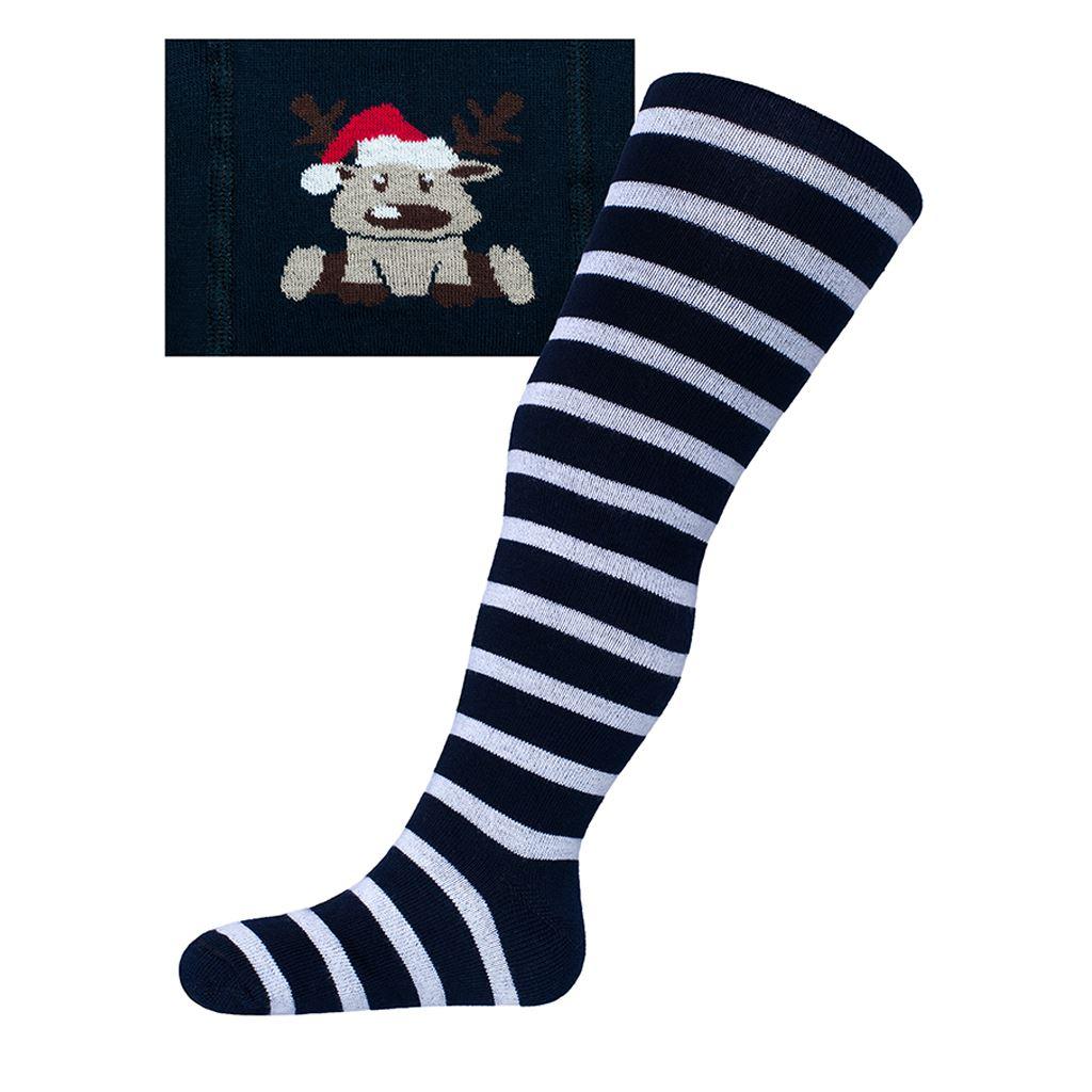 Vánoční bavlněné punčocháčky New Baby tmavě modré se sobem-92 (18-24m)