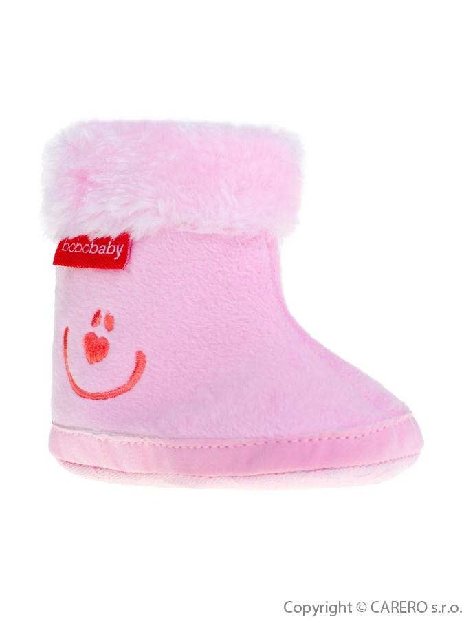 Dětské zimní capáčky Bobo Baby 6-12m růžové smile