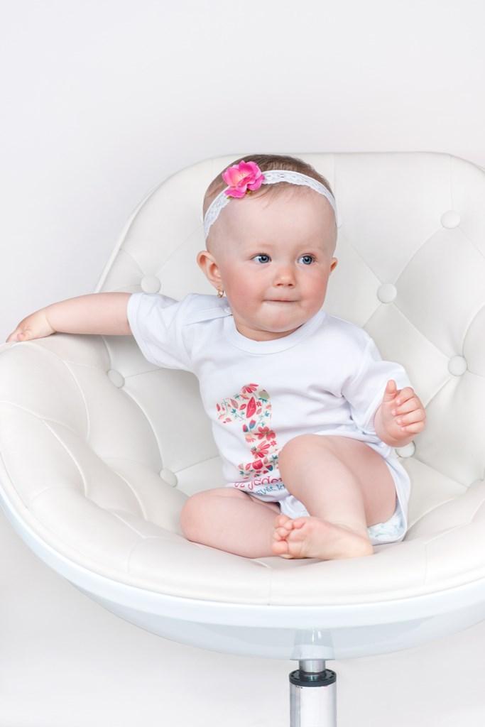 Body s potiskem New Baby Už mám 1 rok růžové, vel. 80 (9-12m)