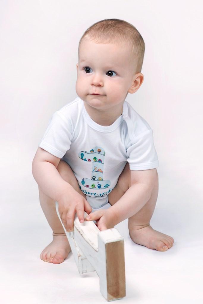 Body s potiskem New Baby Už mám 1 rok modré vel.80