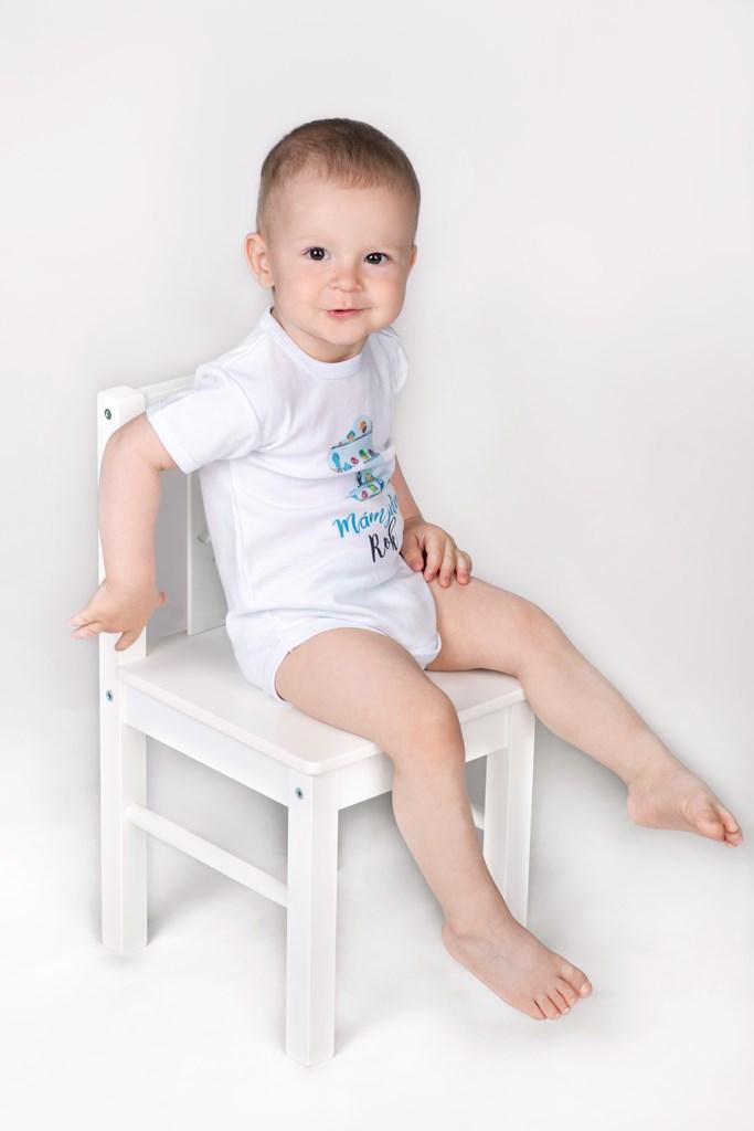Body s potiskem New Baby Už mám 1 rok modré, vel. 80 (9-12m)