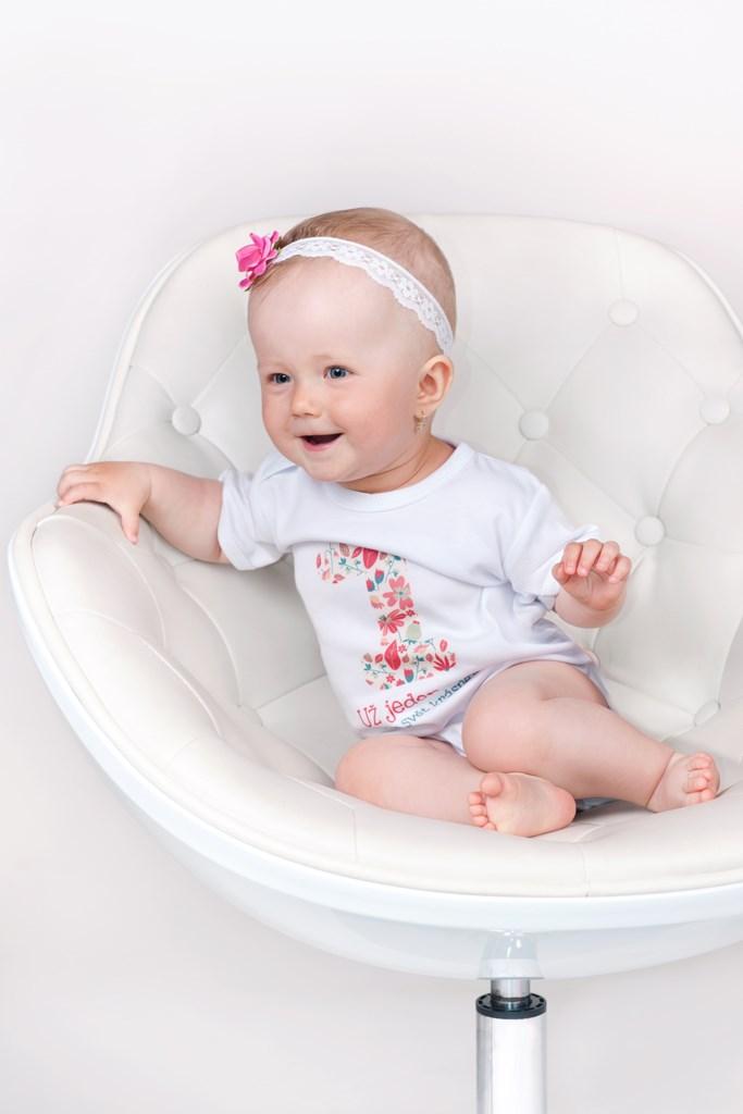Body s potiskem New Baby Už mám 1 rok růžové, vel. 86 (12-18m)