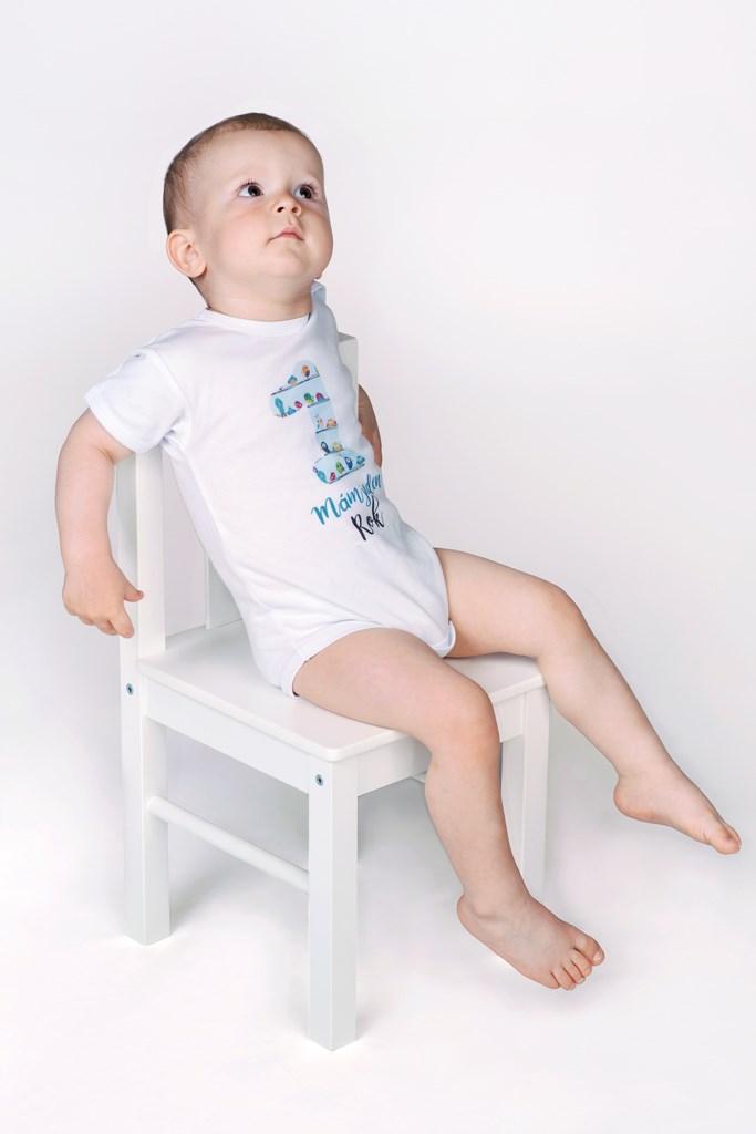 Body s potiskem New Baby Už mám 1 rok modré vel. 86 (12-18m)