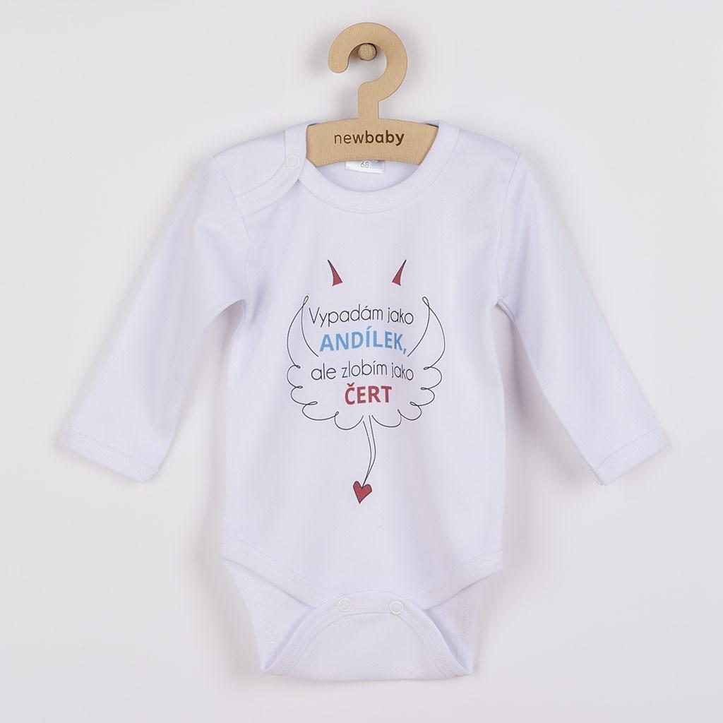 Body s potiskem New Baby Vypadám jako ANDÍLEK, ale zlobím jako ČERT, vel. 56 (0-3m)