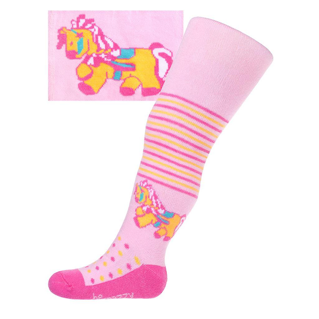 Bavlněné punčocháčky New Baby růžové s koníkem vel. 68 (4-6m)