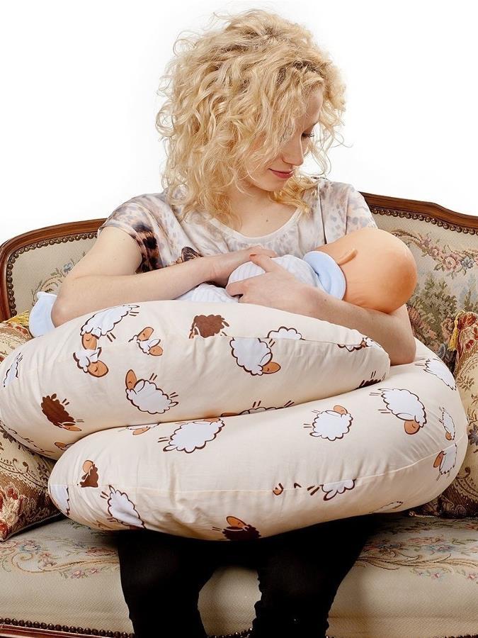 Univerzální kojící polštář ve tvaru C New Baby Ovečky béžový