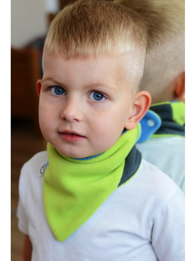 Dětský oboustranný fleecový nákrčník VG modro-limetkový, Velikost: Univerzální