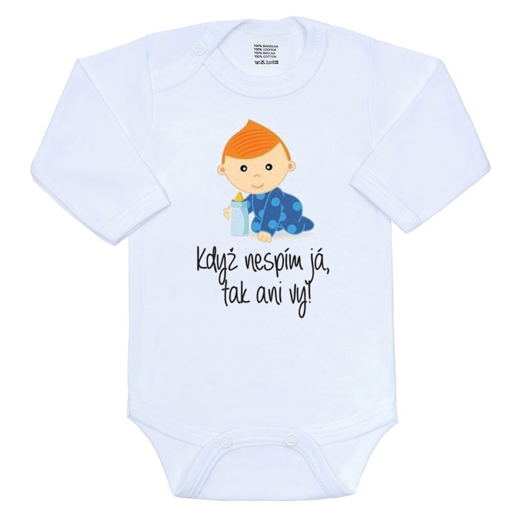 Body s potiskem New Baby Když nespím já, tak ani vy, vel. 56 (0-3m)