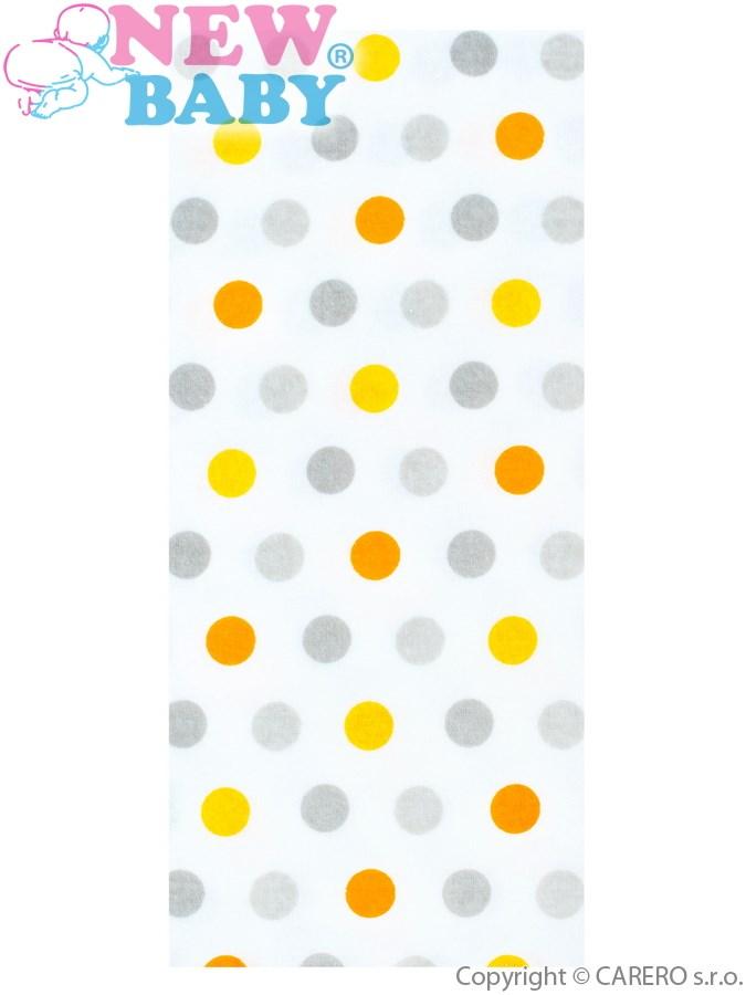 Flanelová plena s potiskem New Baby bílá s barevnými puntíky