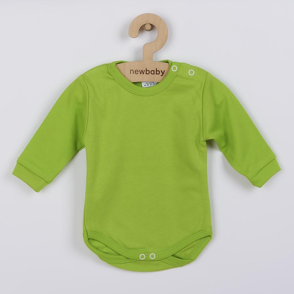 Kojenecké body s dlouhým rukávem New Baby světle zelené, vel. 62 (3-6m)