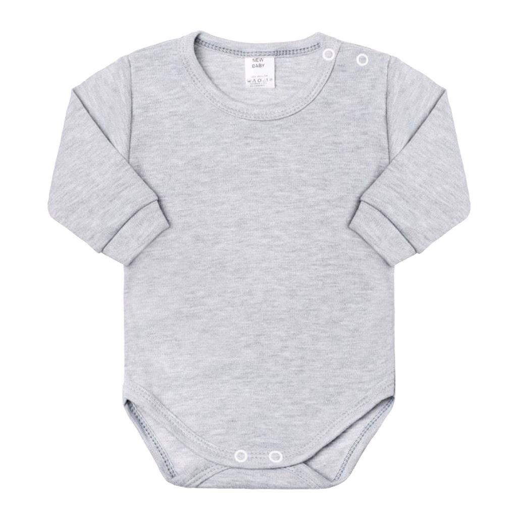 Kojenecké body s dlouhým rukávem New Baby šedé