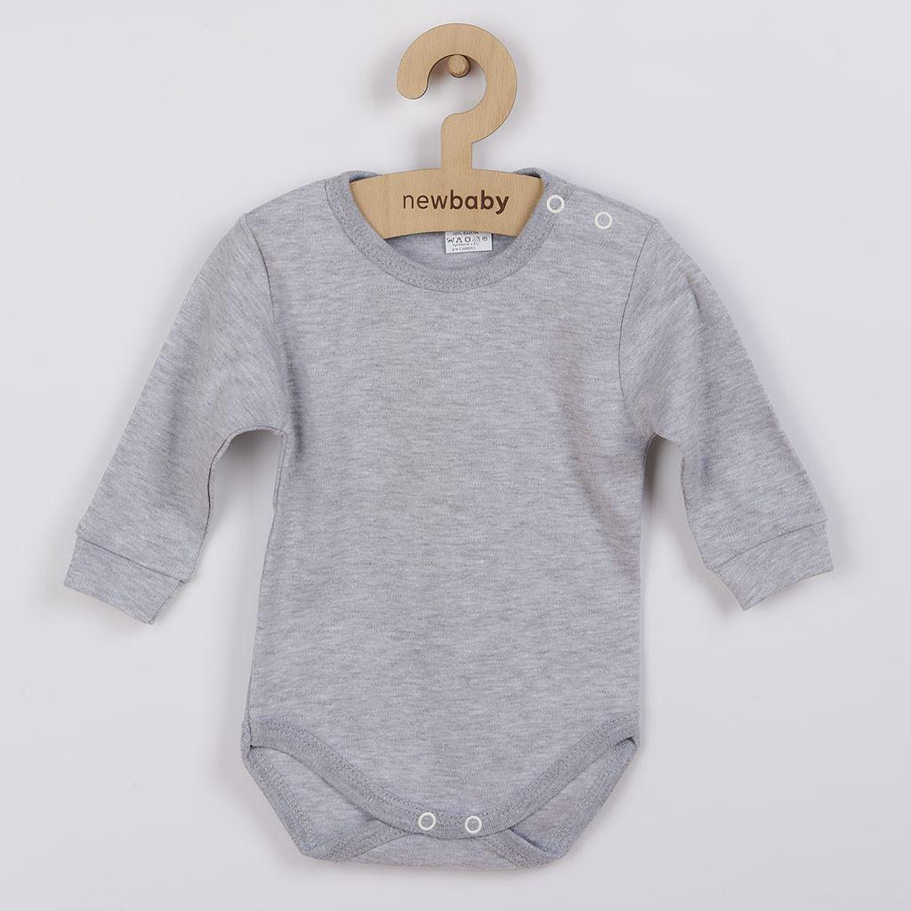 Kojenecké body s dlouhým rukávem New Baby šedé vel. 80 (9-12m)