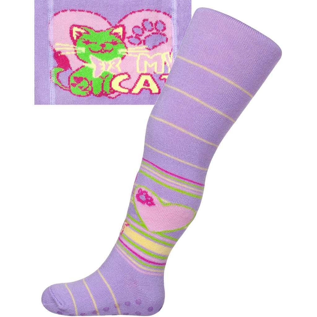 Bavlněné punčocháčky New Baby s ABS světle fialové my cat