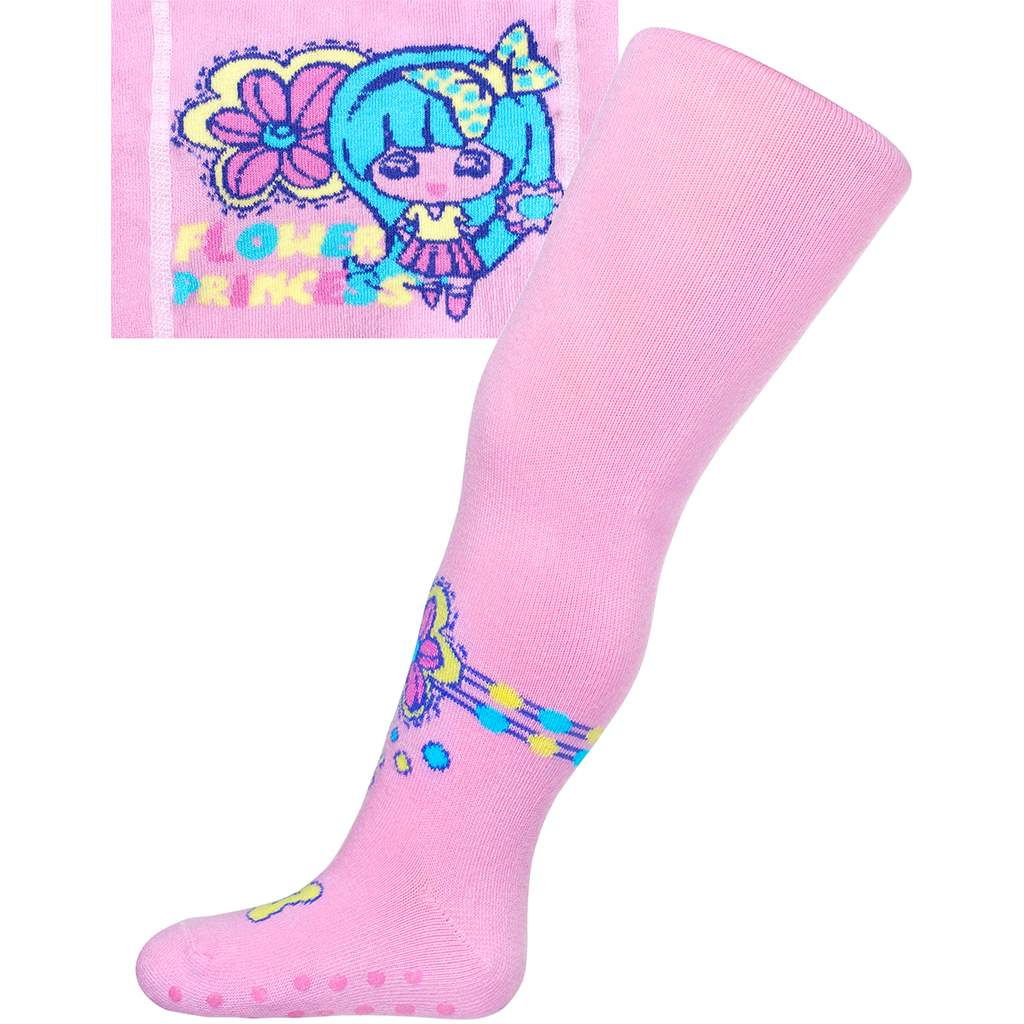 Bavlněné punčocháčky New Baby s ABS světle růžové flower princess vel. 104 (3-4r)