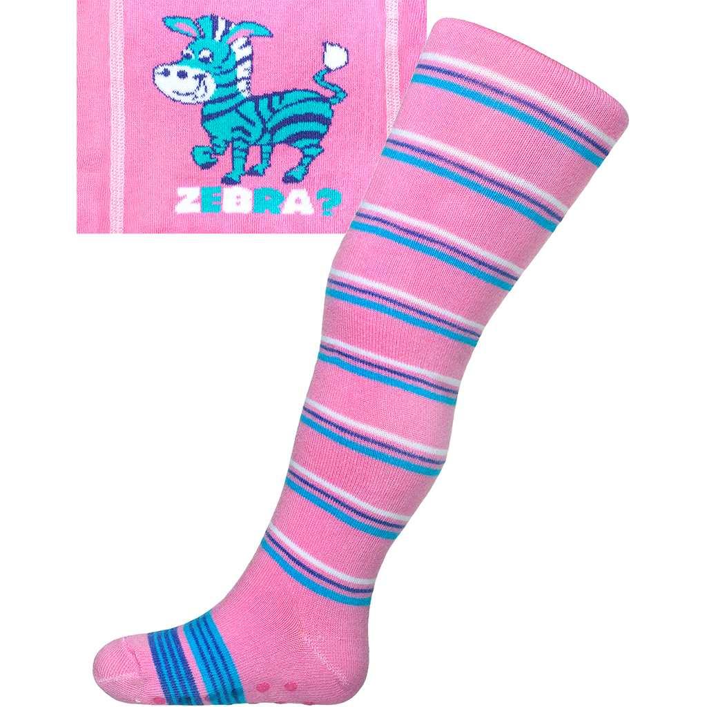 Bavlněné punčocháčky New Baby s ABS růžové zebra s pruhy vel. 104 (3-4r)