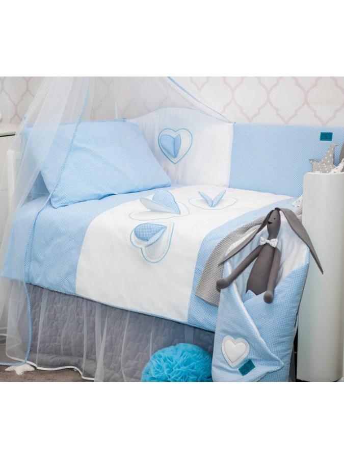 5-dílné ložní povlečení Belisima Tři srdce 100/135 bílo-modré