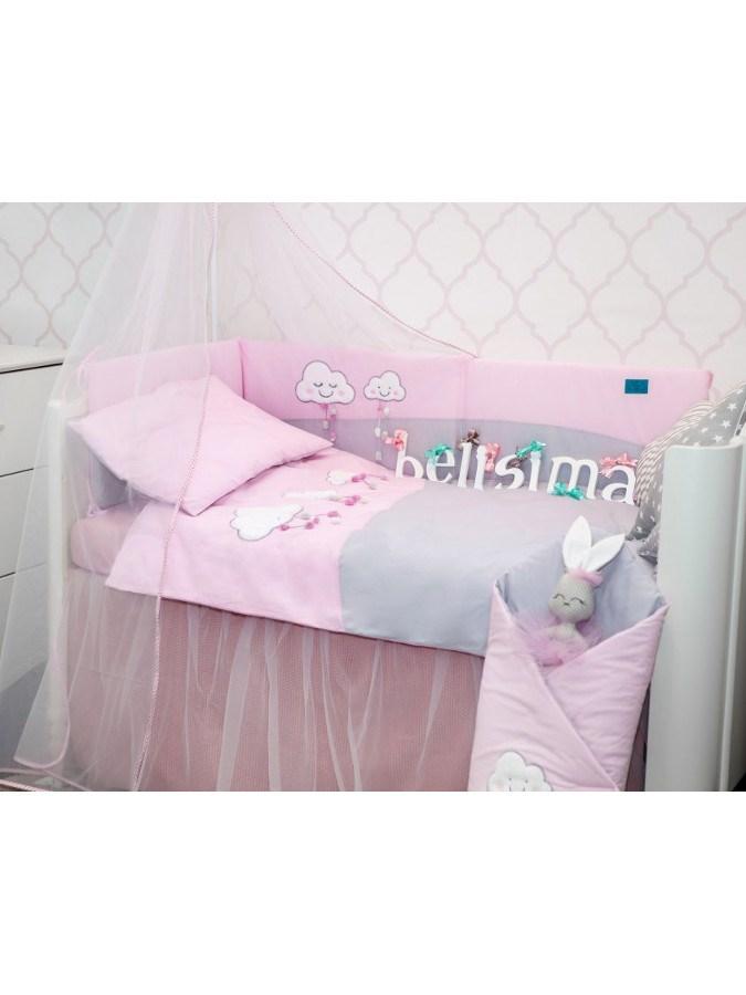 5-dílné ložní povlečení Belisima Obláčky 100/135 růžové
