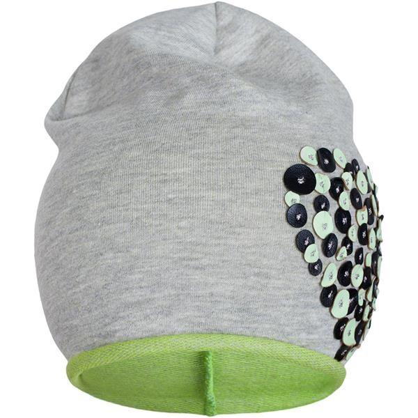 Jarní čepička New Baby srdíčko šedo-zelená vel. 110 (4-5r)