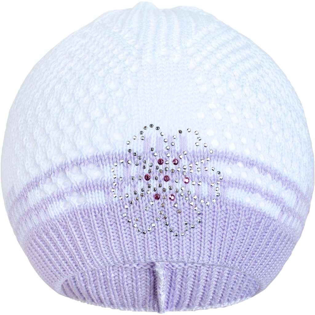 Pletená čepička New Baby kytička fialová, Velikost: 104 (3-4r)