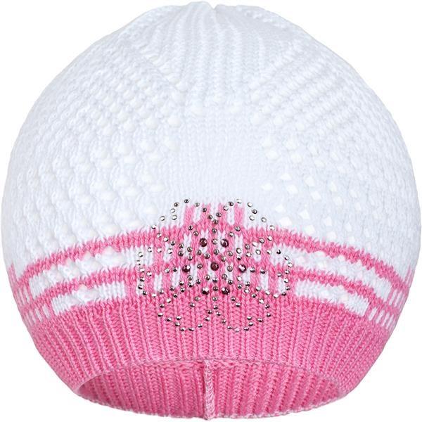 Pletená čepička New Baby kytička růžová, Velikost: 104 (3-4r)