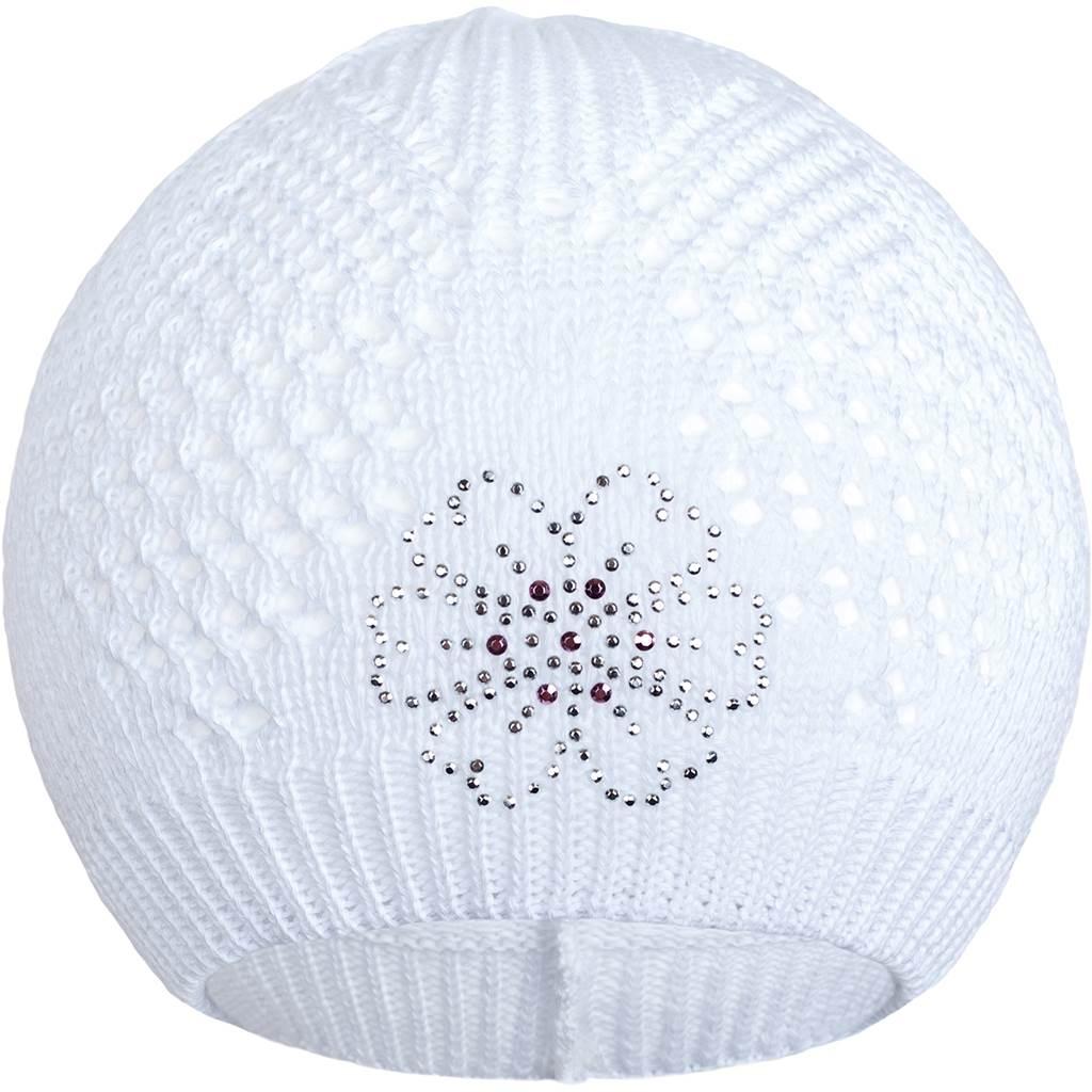 Pletená čepička New Baby kytička bílá, Velikost: 104 (3-4r)