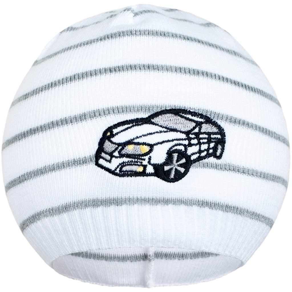 Jarní čepička New Baby s autíčkem bílo-tmavě šedá
