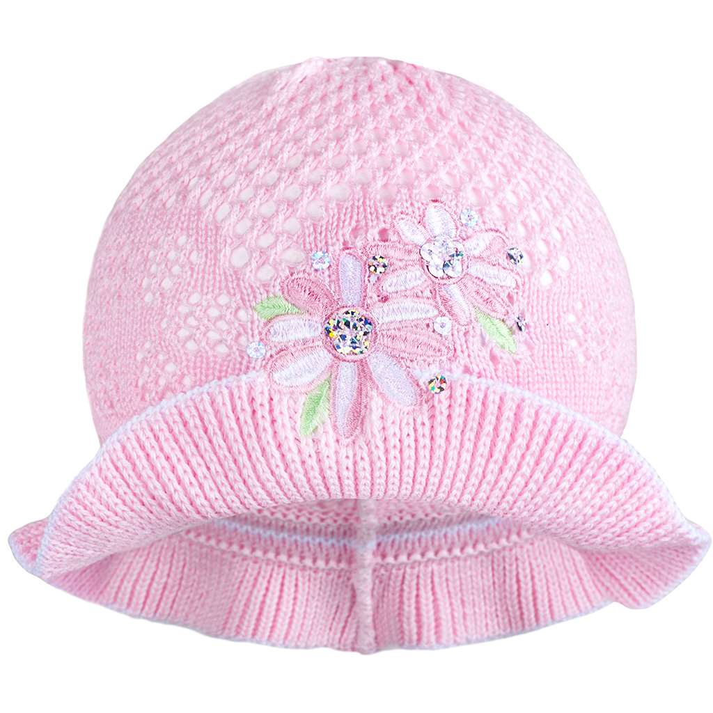 Pletený klobouček New Baby růžovo-bílý