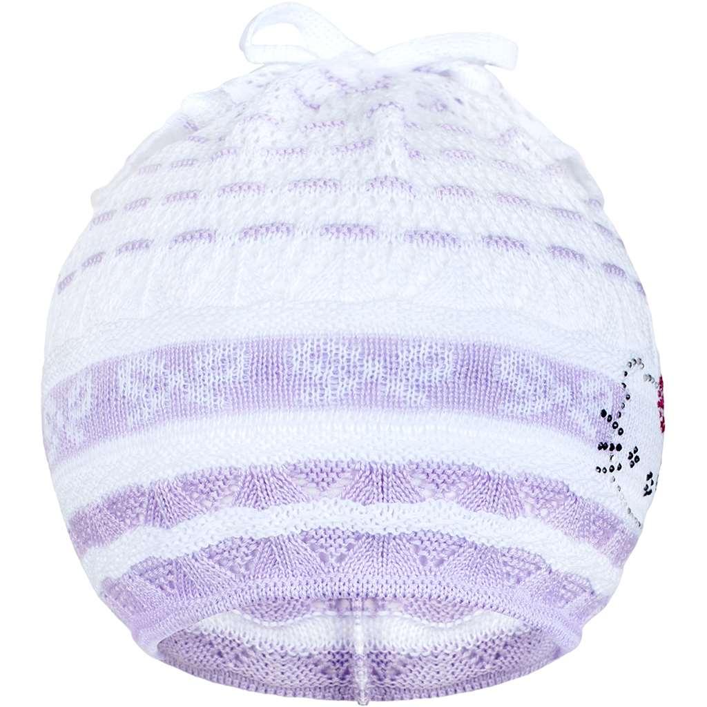 Pletená čepička-šátek New Baby kočička fialová